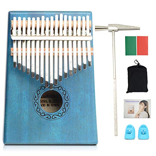 Apelila 17 Key Kalimba Thumb Piano, Solid Mahogany Wood Body Finger...